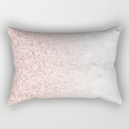 Blush Pink Sparkles on White and Gray Marble Rectangular Pillow