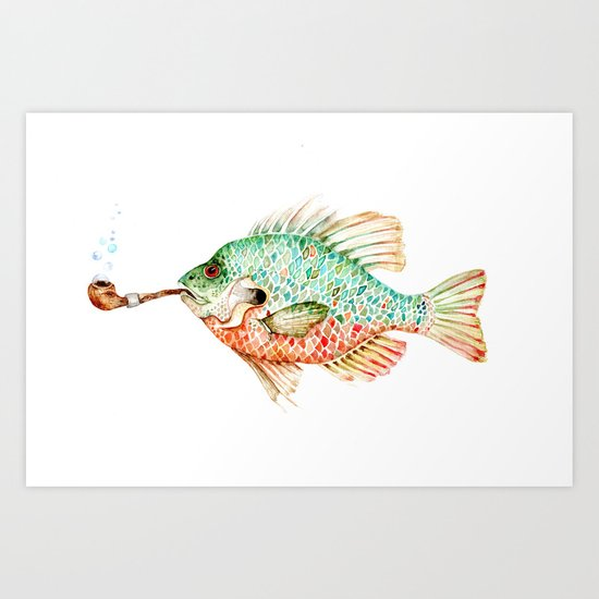 River Sunfish with a Pipe Art Print