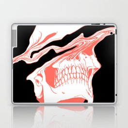 Liquify Skull in black and living coral Laptop & iPad Skin