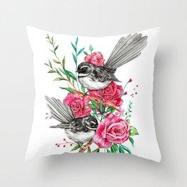Floral Piwakawakas Throw Pillow