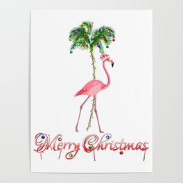 Merry Christmas Pink Flamingo Beach Xmas Poster