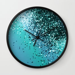 Aqua Blue OCEAN Glitter #1 #shiny #decor #art #society6 Wall Clock