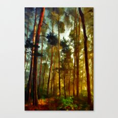 Morning In The Woods - Painting Style Canvas Print
