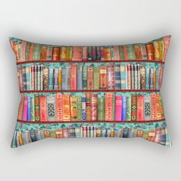 Vintage Books / Christmas bookshelf & holly wallpaper / holidays, holly, bookworm,  bibliophile Rectangular Pillow