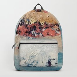 Artemis [2]: a gorgeous minimal abstract piece in purples blues and gold by Alyssa Hamilton Art Backpack