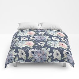 Beautiful Succulent Garden Navy Blue + Pink Comforters