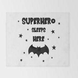 Superhero Sleeps Here Throw Blanket