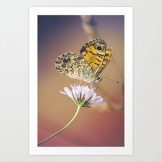 Butterfly Pink and yellow Art Print