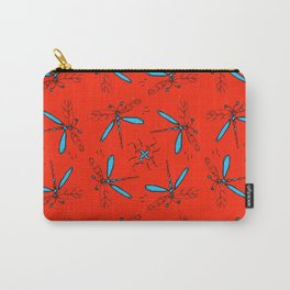 Turquoise Dragonflys On Red-Orange Back Carry-All Pouch