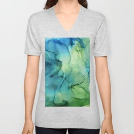 Blue Green Spring Marble Abstract Ink Painting Unisex V-Neck