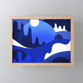 Terrazzo landscape blue night Framed Mini Art Print