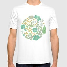 Floral Bloom White MEDIUM Mens Fitted Tee