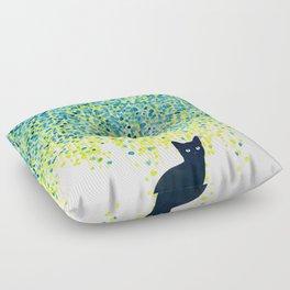 Cat in the garden under willow tree Floor Pillow