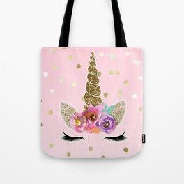 Floral Trendy Modern Unicorn Horn Gold Confetti Tote Bag