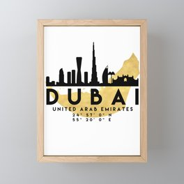 DUBAI UNITED ARAB EMIRATES SILHOUETTE SKYLINE MAP ART Framed Mini Art Print