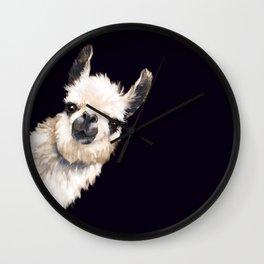 Sneaky Llama in Black Wall Clock