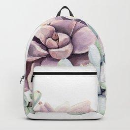 Desert Succulents on White Backpack