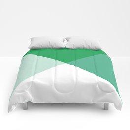 Geometric Green Comforters