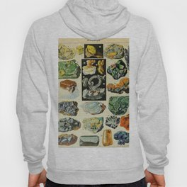 Minerals Vintage Scientific Illustration French Language Encyclopedia Lithographs Educational Hoody