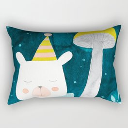 polar bear botanical night illustration Rectangular Pillow