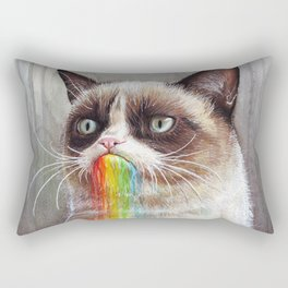 Cat Tastes the Grumpy Rainbow Rectangular Pillow