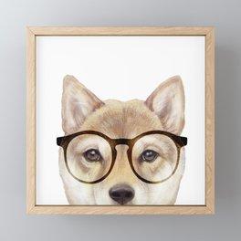 Shiba inu with glasses Dog illustration original painting print Framed Mini Art Print