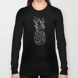 single line pineapple (white) Long Sleeve T-shirt