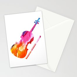 Colored Violin Gift Idea for Violinist Stationery Cards