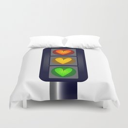 Love Heart Traffic Lights Duvet Cover