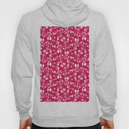 Ruby Red Floral Pattern Hoody