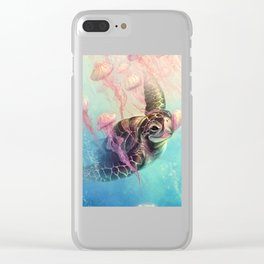 Sea Turtle and Jellyfish! Clear iPhone Case