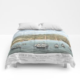 SAN FRANCISCO CALIFORNIA city old map Father Day art print poster Comforters