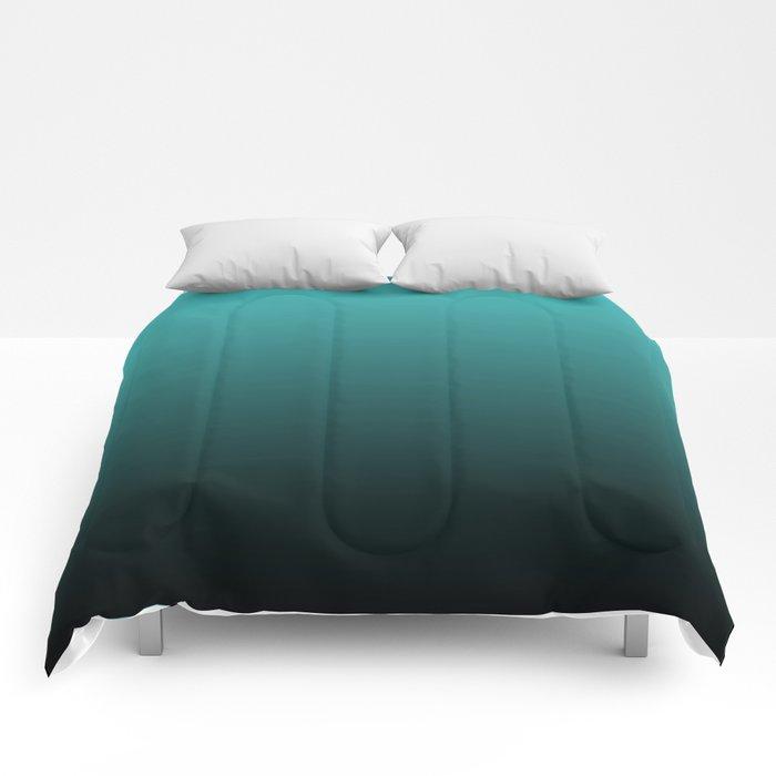 Teal Black Ombre Comforters