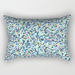 Blue White Yellow Tiling Colored Squares Rectangular Pillow