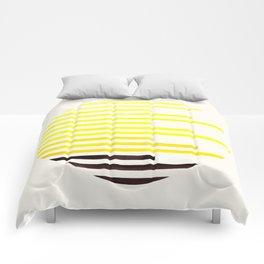 Mid Century Modern Minimalist Circle Photo Yellow Staggered Stripe Pattern Comforters