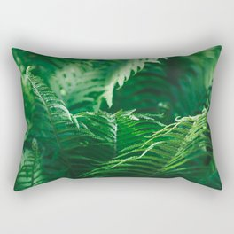 Macro photography of a fern in a tropical forest. Nature background. Rectangular Pillow