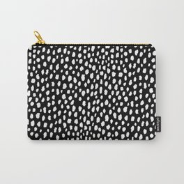 Handmade polka dot brush strokes (black and white reverse dalmatian) Carry-All Pouch