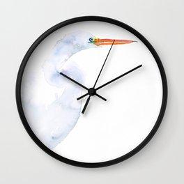 Watercolor Zen Egret Wall Clock