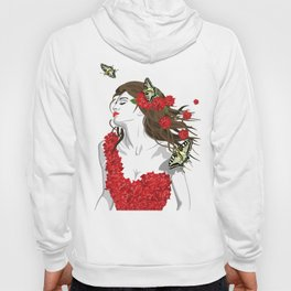 Woman in Dress from Gibiscus Flowers and Butterflies Hoody