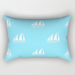 White Sailboat Pattern on turquoise background Rectangular Pillow