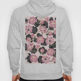 Girly Blush Pink and Black Watercolor Flowers Hoody