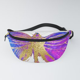 Elegant Gold-Glitter Butterfly in Blue and Purple Fanny Pack
