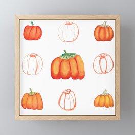 Watercolor pumpkins set Framed Mini Art Print