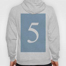 number five sign on placid blue color background Hoody