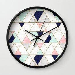 Mod Triangles - Navy Blush Mint Wall Clock
