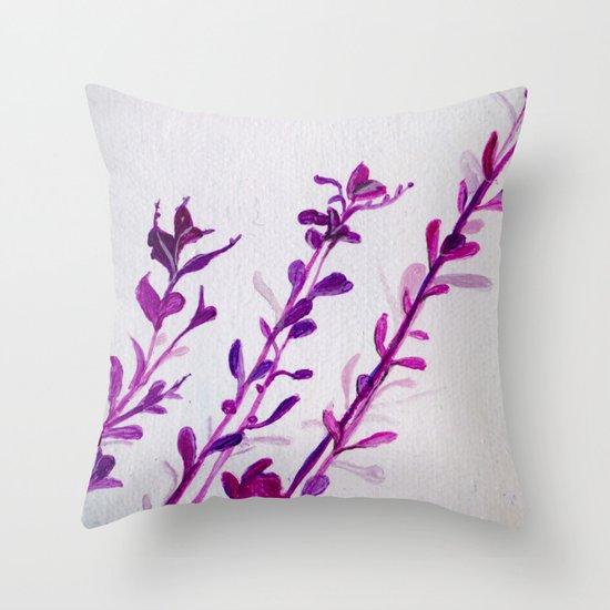 Pink Stems Throw Pillow