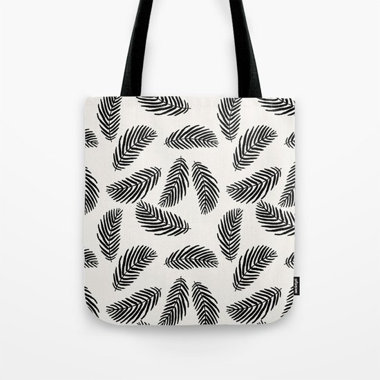 Palm trees black and white tropical minimal ocean seaside socal beach life pattern Tote Bag