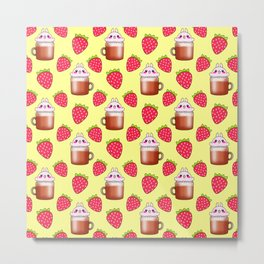 Cute little happy funny pink little baby bunnies sitting in cappuccino coffee cups, yummy red ripe sweet summer strawberries pretty pastel bright sunny yellow fruity pattern design. Metal Print