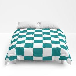 Checkered - White and Dark Cyan Comforters