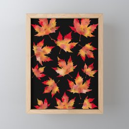 Maple leaves black Framed Mini Art Print